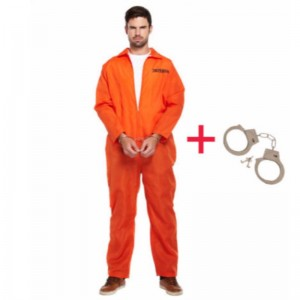 MENS PRISONER ÁLTALÁNOS ORANGE JUMPSUIT CONVICT STAG
